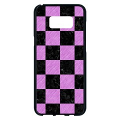 Square1 Black Marble & Purple Colored Pencil Samsung Galaxy S8 Plus Black Seamless Case