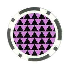 Triangle2 Black Marble & Purple Colored Pencil Poker Chip Card Guard