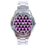 TRIANGLE3 BLACK MARBLE & PURPLE COLORED PENCIL Stainless Steel Analogue Watch Front