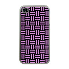 Woven1 Black Marble & Purple Colored Pencil (r) Apple Iphone 4 Case (clear)
