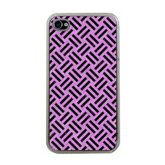 Woven2 Black Marble & Purple Colored Pencil Apple Iphone 4 Case (clear)