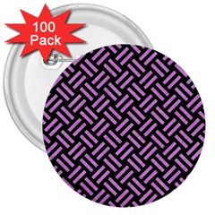 Woven2 Black Marble & Purple Colored Pencil (r) 3  Buttons (100 Pack)