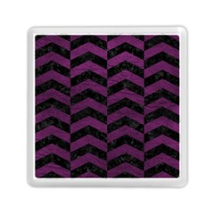 Chevron2 Black Marble & Purple Leather Memory Card Reader (square)