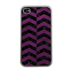 Chevron2 Black Marble & Purple Leather Apple Iphone 4 Case (clear)