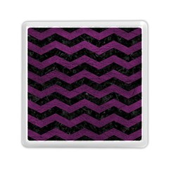 Chevron3 Black Marble & Purple Leather Memory Card Reader (square)