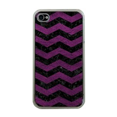 Chevron3 Black Marble & Purple Leather Apple Iphone 4 Case (clear)