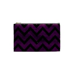 Chevron9 Black Marble & Purple Leather Cosmetic Bag (small)
