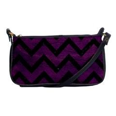Chevron9 Black Marble & Purple Leather Shoulder Clutch Bags