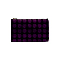 Circles1 Black Marble & Purple Leather (r) Cosmetic Bag (small)