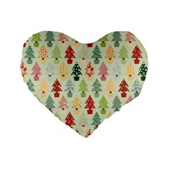 Christmas Tree Pattern Standard 16  Premium Heart Shape Cushions
