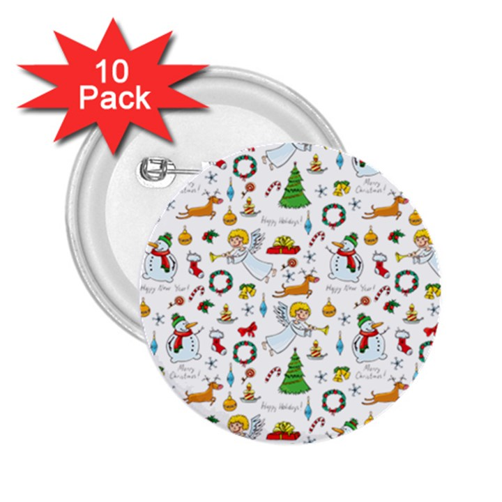 Christmas pattern 2.25  Buttons (10 pack)