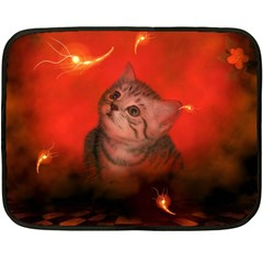 Cute Little Kitten, Red Background Double Sided Fleece Blanket (mini)