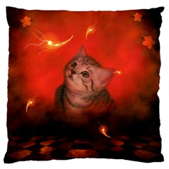 Cute Little Kitten, Red Background Large Flano Cushion Case (one Side)
