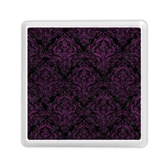 Damask1 Black Marble & Purple Leather (r) Memory Card Reader (square)