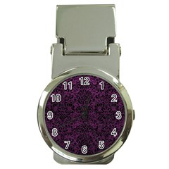 Damask2 Black Marble & Purple Leather Money Clip Watches