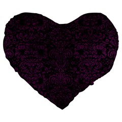 Damask2 Black Marble & Purple Leather (r) Large 19  Premium Flano Heart Shape Cushions