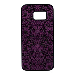 Damask2 Black Marble & Purple Leather (r) Samsung Galaxy S7 Black Seamless Case