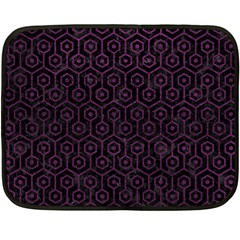 Hexagon1 Black Marble & Purple Leather (r) Double Sided Fleece Blanket (mini)