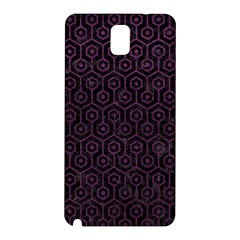 Hexagon1 Black Marble & Purple Leather (r) Samsung Galaxy Note 3 N9005 Hardshell Back Case