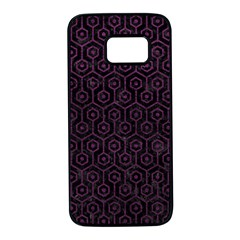 Hexagon1 Black Marble & Purple Leather (r) Samsung Galaxy S7 Black Seamless Case
