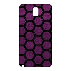 Hexagon2 Black Marble & Purple Leather Samsung Galaxy Note 3 N9005 Hardshell Back Case