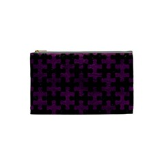 Puzzle1 Black Marble & Purple Leather Cosmetic Bag (small)