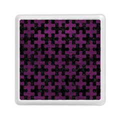 Puzzle1 Black Marble & Purple Leather Memory Card Reader (square)