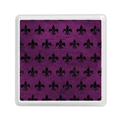 Royal1 Black Marble & Purple Leather (r) Memory Card Reader (square)