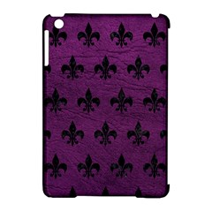 Royal1 Black Marble & Purple Leather (r) Apple Ipad Mini Hardshell Case (compatible With Smart Cover)