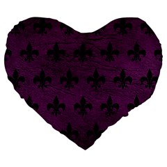 Royal1 Black Marble & Purple Leather (r) Large 19  Premium Flano Heart Shape Cushions