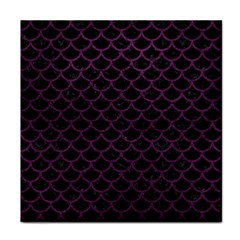 Scales1 Black Marble & Purple Leather (r) Face Towel