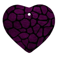 Skin1 Black Marble & Purple Leather (r) Heart Ornament (two Sides)
