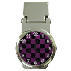 Square1 Black Marble & Purple Leather Money Clip Watches