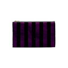 Stripes1 Black Marble & Purple Leather Cosmetic Bag (small)