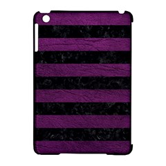 Stripes2 Black Marble & Purple Leather Apple Ipad Mini Hardshell Case (compatible With Smart Cover)