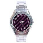 STRIPES3 BLACK MARBLE & PURPLE LEATHER (R) Stainless Steel Analogue Watch Front