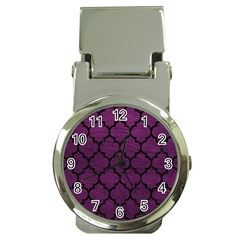 Tile1 Black Marble & Purple Leather Money Clip Watches