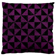 Triangle1 Black Marble & Purple Leather Standard Flano Cushion Case (one Side)