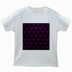 Triangle3 Black Marble & Purple Leather Kids White T Shirts