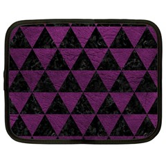Triangle3 Black Marble & Purple Leather Netbook Case (large)