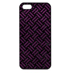 Woven2 Black Marble & Purple Leather (r) Apple Iphone 5 Seamless Case (black)