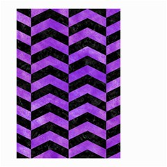 Chevron2 Black Marble & Purple Watercolor Small Garden Flag (two Sides)