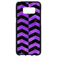 Chevron2 Black Marble & Purple Watercolor Samsung Galaxy S8 Black Seamless Case