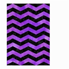 Chevron3 Black Marble & Purple Watercolor Small Garden Flag (two Sides)