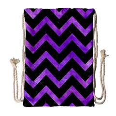 Chevron9 Black Marble & Purple Watercolor (r) Drawstring Bag (large)