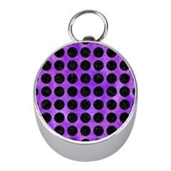 Circles1 Black Marble & Purple Watercolor Mini Silver Compasses
