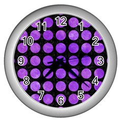Circles1 Black Marble & Purple Watercolor (r) Wall Clocks (silver)