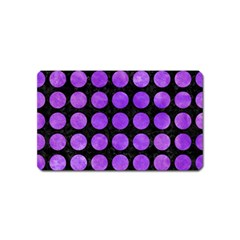 Circles1 Black Marble & Purple Watercolor (r) Magnet (name Card)
