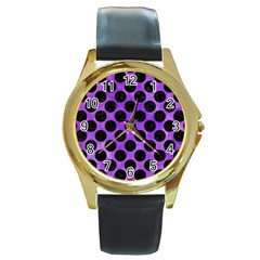 Circles2 Black Marble & Purple Watercolor Round Gold Metal Watch