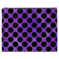 Circles2 Black Marble & Purple Watercolor Cosmetic Bag (xxxl)
